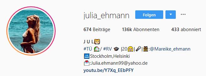 Julia Ehmann Insta Profil